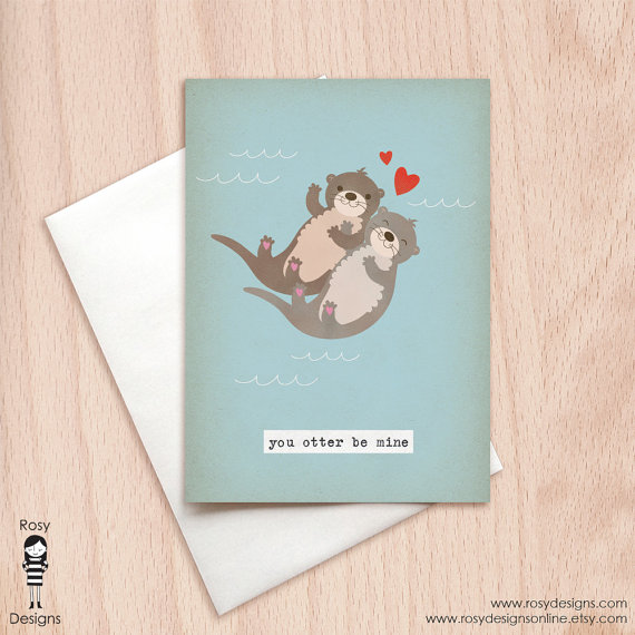 You Otter Be Mine – Funny Pun Card, Anniversary Card, Love Card, Otters Holding Hands, Cute Valentine's Card by rosydesignsonline