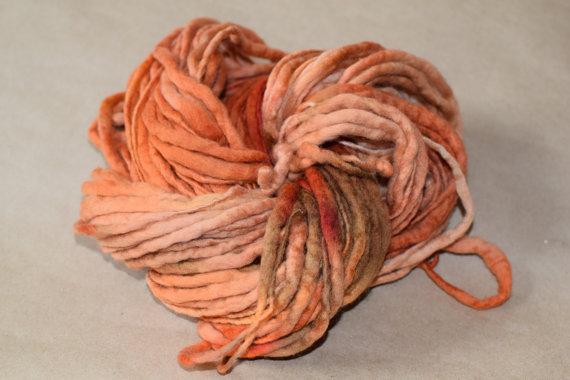 SALE – MERINO Thick and Thin Yarn – Spicy Pumpkin by YarnAndFiber