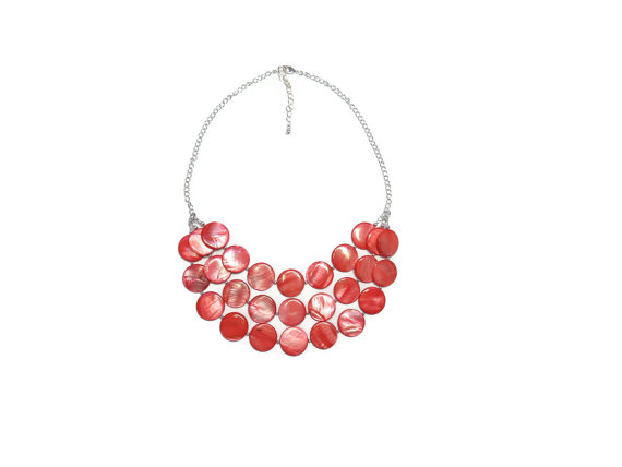 Bridesmaid Necklace – Red Bridesmaid Necklace Chunky Red Bib Necklace Red Coin Necklace Trendy Jewelry Red Bridesmaid Jewelry Beach Wedding by WildflowersAndGrace