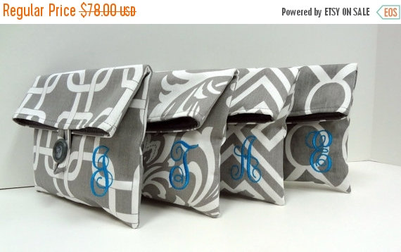 ON SALE Personalized Bridesmaid Clutches, Gray and Turquoise Makeup Bags, Monogrammed Bridesmaid Gifts by BagsByLora
