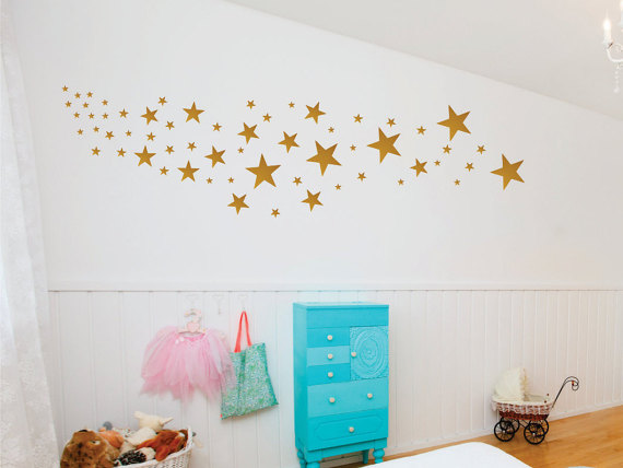 Gold Decals – Gold Star Decals – Nursery Wall Decals – Design Pack of 109 Stars by LucyLews