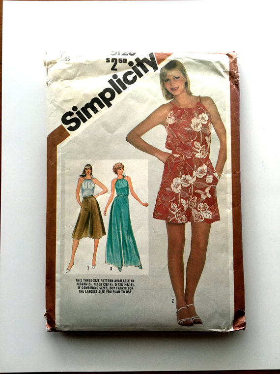 80s Simplicity 5128 Culottes Shorts and Pants, Halter Top Size 12 14 16 34 36 38 Bust by SloCrafty