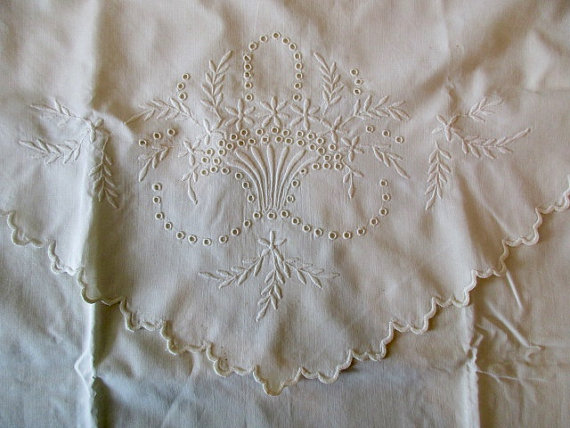 LARGE white linen PILLOW SHAM – floral, embroidered, basket of flowers by JunqueDuJour