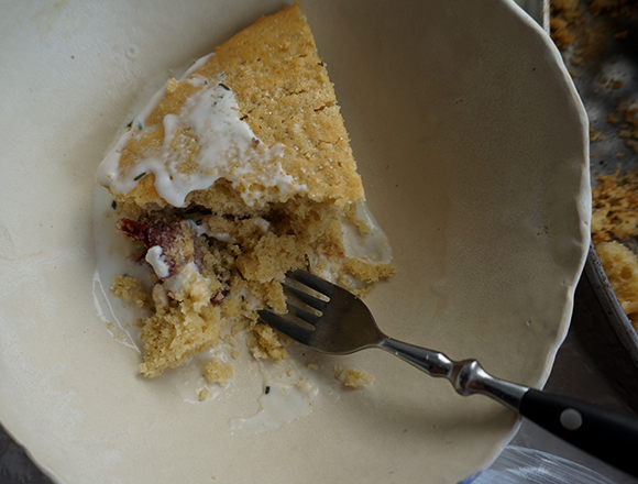 Gut Feelings: Olive Oil Kefir Cake with Roasted Grapes and Rosemary (GF)