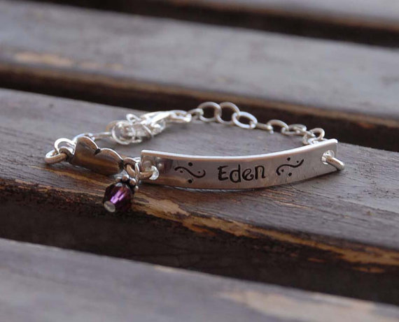 Hand stamped bracelet with handmade, hand stamped tags – sterling silver perfect for flower girl gifts by SophiesCloset