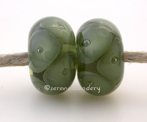 EARTHY GREEN Bubble Pair Lampwork Glass Beads – TANERES sra olive army mojito earring by taneres