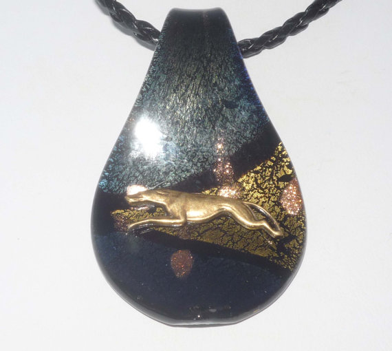 Black Artglass Pendant Necklace with Bronze Running Greyhound or Whippet Dog, Braided Leather Necklace by suebero