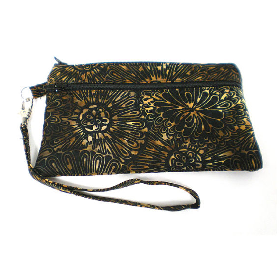 Double Pocket Wristlet with Detachable Strap Black with Brown and Gold Floral Batik by SewDarnSimple