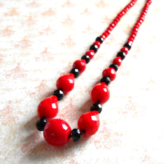 Vintage Art Deco Lipstick Red & Black Czech Glass Faceted Bead Necklace – Classic Art Deco, Hand Knotted, Black Glass, Cherry Red Glass, by TheLostAreFound