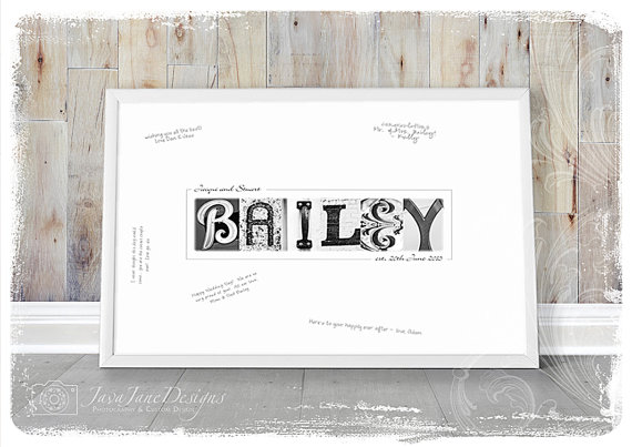 WEDDING GUEST BOOK Alternative, Digital Download, Guest Book Signature Print, 16×20, Personalized Wedding Name Frame, Guestbook Sign In by JavaJaneDesigns