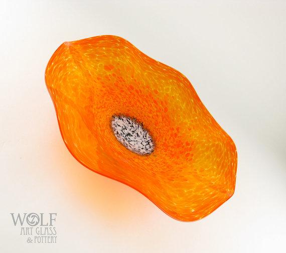 MADE TO ORDER Bright Orange California Poppy Flower Blown Art Glass Wall Art Sculpture by wolfartglass