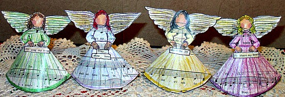 Music Angels, Set of 4 Standing Angels, Place Cards, Decorations, Cardstock, Ornament, Card / Gift, Ready to Ship by VanessevaDesigns