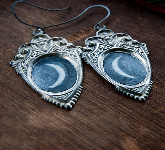 Crescent Moon Goddess Hand-Painted Shield Earrings OOAK by redheart13