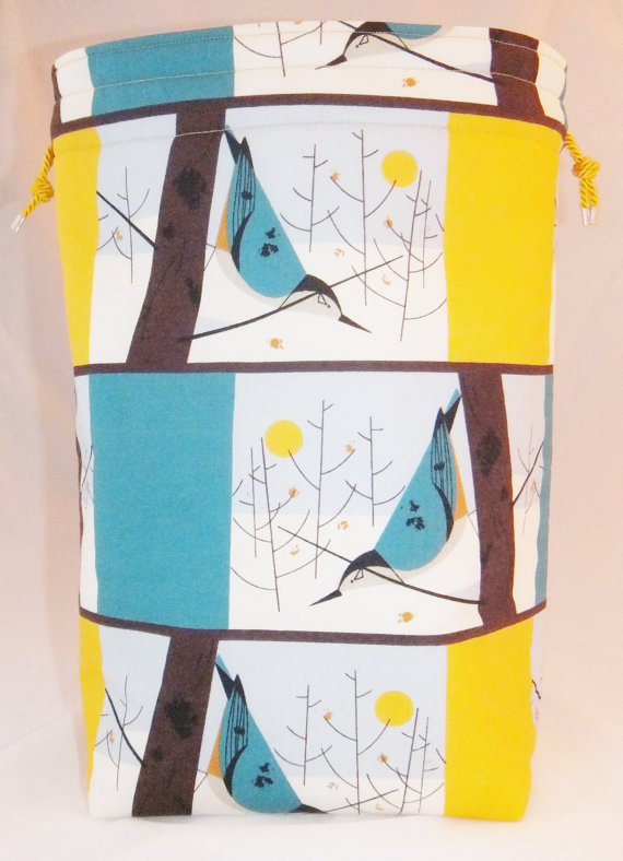 Little Sock Project Bag – Nuthatches by Beadmarkers
