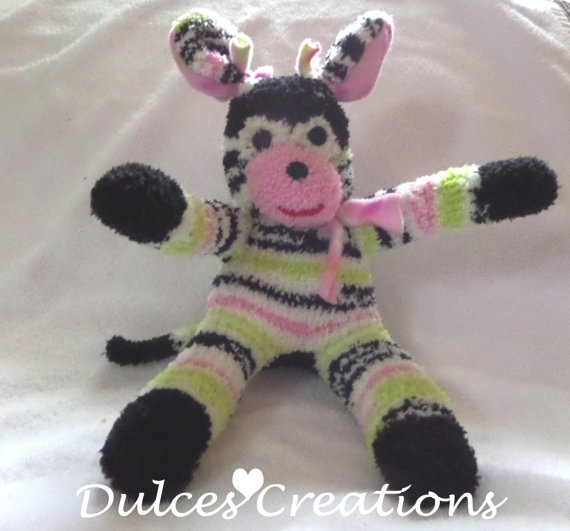Sock puppy dog pink white and black Stuffed Animal Doll Baby Toys handmade by THEMONKEYSHOP