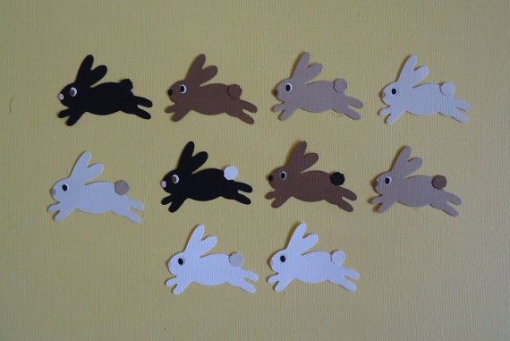 Easter Bunny Die Cuts x 10 Leaping Rabbits for Scrapbooking Cards and Paper Crafts by pinkdesertbluebird