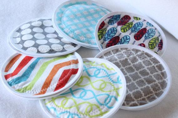 Nursing Pads, reusable nursing pad, waterproof breast pads, PUL, flannel, zorb, washable, 6 pairs by CharisBabyDesigns