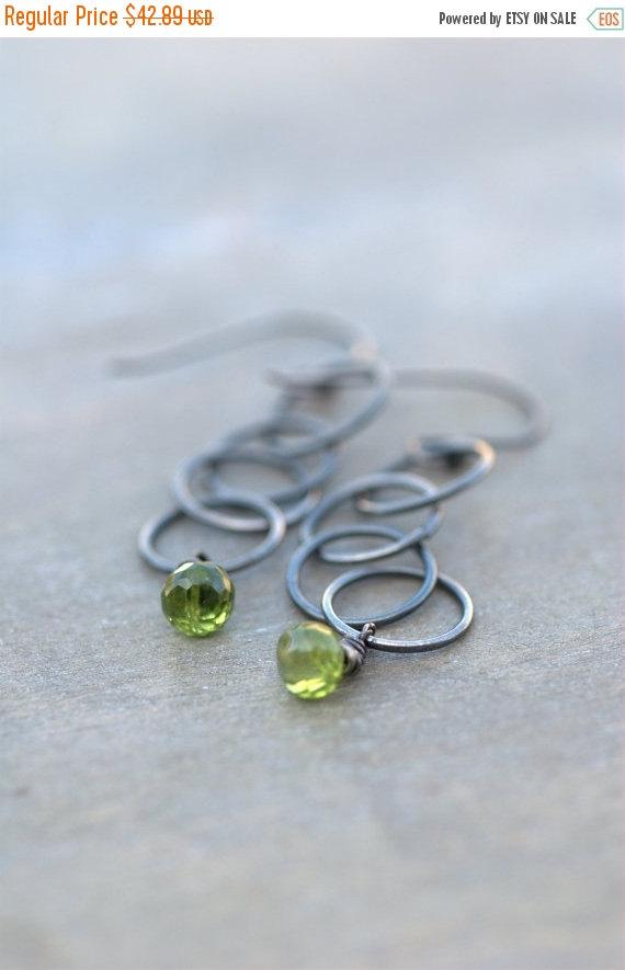 ON SALE Peridot Earrings Sterling Silver Green Earrings Green Drop Earrings Green Chain Earrings Modern Green Earrings Gifts for Her, Boho by RefreshJewelryToo