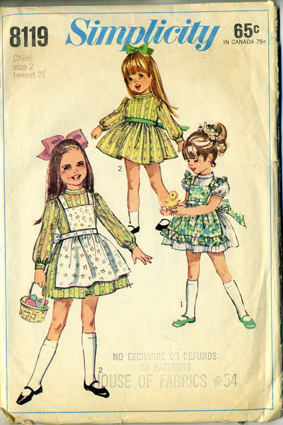 Vintage 60s Simplicity 8119 Toddler Dress and Apron Sewing Pattern by RomasMaison