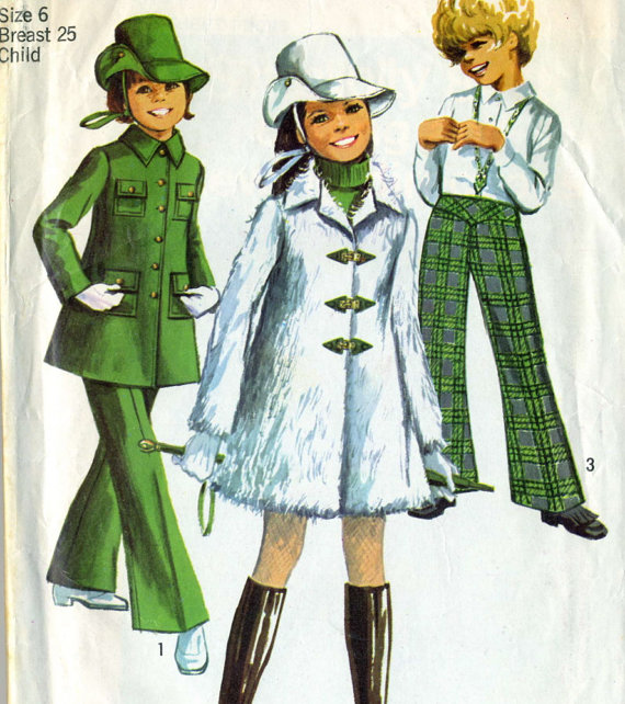 Vintage 60s Simplicity 8478 Girls Mini Coat, Bell Bottom Pants and Hat Sewing Pattern Sizes 6 by RomasMaison