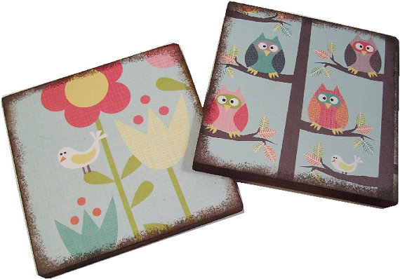Coasters Set of (2) MADE TO ORDER, Birds, Owls, Trees Handcrafted Wooden Drink Coasters By Gifts And Talents by GiftsAndTalents