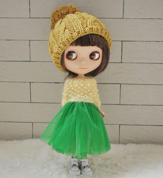 Babydoll Pom-Pom Hat for Blythe Doll-Ginger by susa