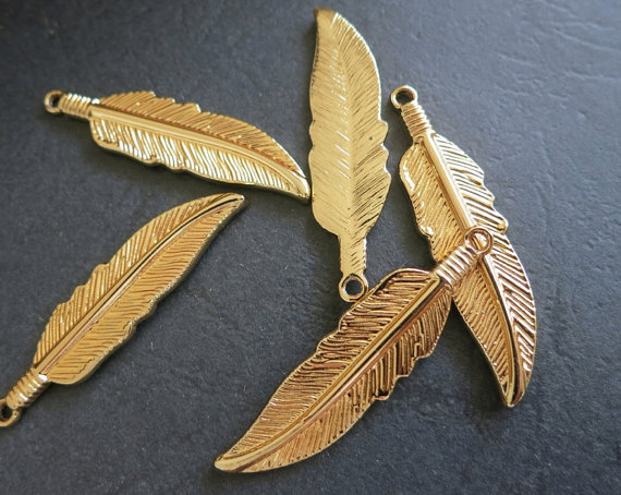 12pcs -Gold Feather Charm pendant Beads 10x42mm -G3604 by cgpjewelry