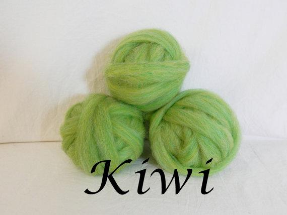Wool roving in Kiwi, 1 ounce wool roving for needle felting, wet felting, spinning, 1 oz wool roving sampler, colored wool sampler by CurlyFurr