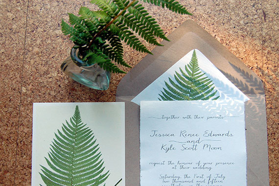 Vintage Botanical Fern Hemp Paper Wedding Invitation by MorningsidePaper