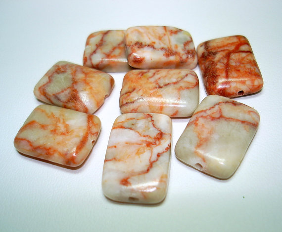 Redline Marble Rectangle Stone Beads (Qty 8) – B2523 by Fairydustboutique