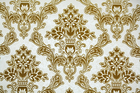 Vintage Flock Wallpaper by the Yard Retro Flock Wallpaper – 1970s Gold Flock Damask on White by RetroWallpaper