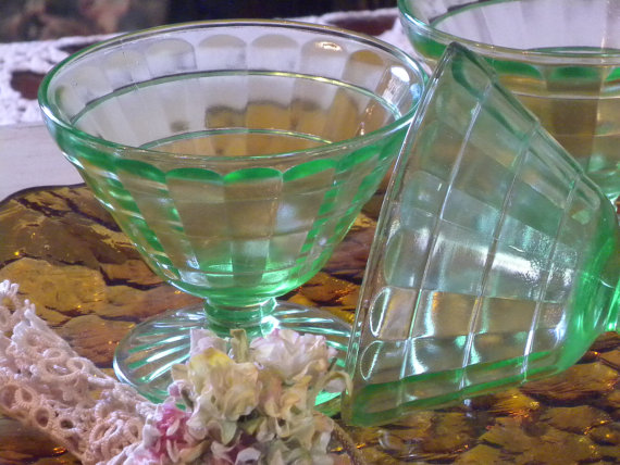 Set of Four Vintage Green Depression Sherberts // Vaseline Glass // Block Optic Green Glass Sherberts by vintagefinesandlinen