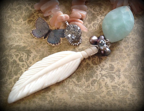 Flight Amazonite and Bone Feather Necklace by lunalove