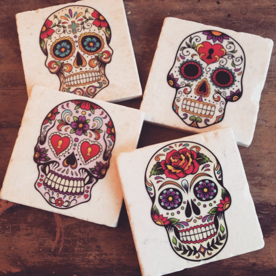 Sugar Skulls – day of the dead coasters by thepaintedlily