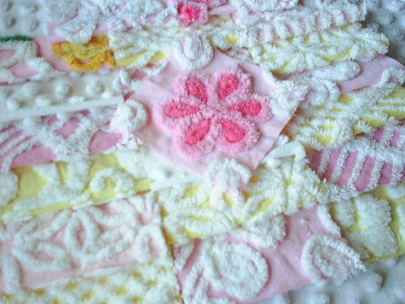 Vintage Chenille Pink and Yellow Quilt Squares-Sweet by chenillaholic