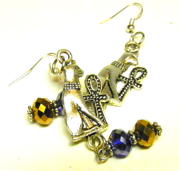 Egyptian Cat Earrings, Bastet Cat Charm Earrings with Swarovski Crystals, Egyptian Jewelry, Egyptian Earrings, Steampunk Jewelry Cat Jewelry by MelancholyMind