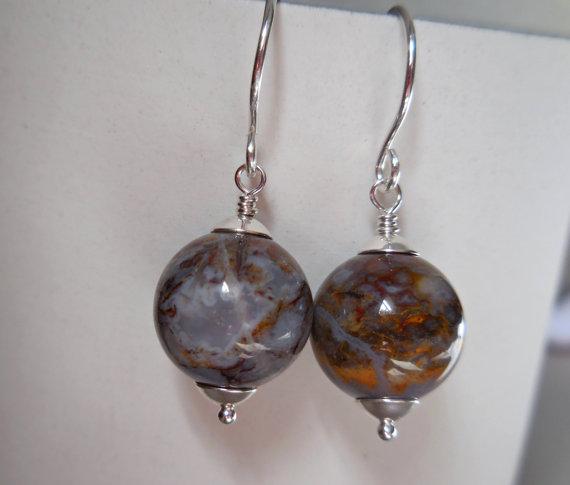 Pietersite earrings, Tempest stone organic natural gemstone bead 925 sterling silver simple modern earrings chalcedony quartz crystal orb by karmelidesigns