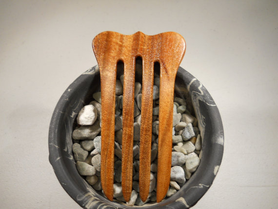 4 prong tasmanian blackwood wood hair fork by Jeterforks