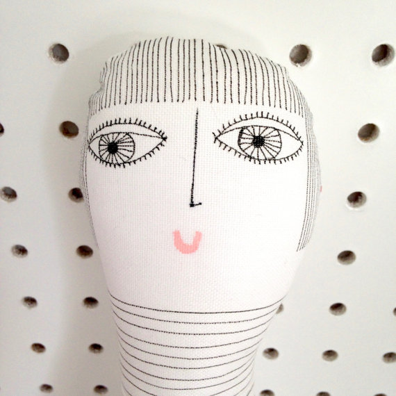 New One Off Handmade Bowie Fan fabric doll figure ornament by Jane Foster – illustration art doll black and white by Janefoster