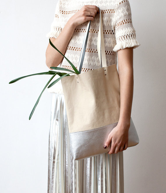 SPRING SALE Silver Dipped Leather Tote bag by CORIUMI