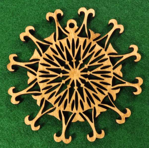 Wood Snowburst Snowflake Ornament by cedarviewgifts