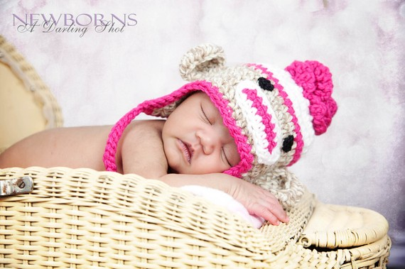 Toddler, Child Flower Sock Monkey Earflap Hat – Great Photography Prop (Beige, White and Hot Pink) by BuggyD
