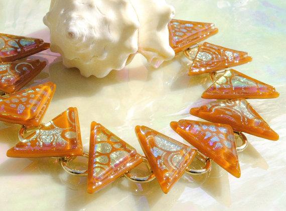 Geometric Glass Bracelet, Fused Glass Bracelet, Fused Glass Jewelry, Dichroic Bracelet, Triangle, Burnt Orange Honey (Item 20054-LB) by IntoTheLight