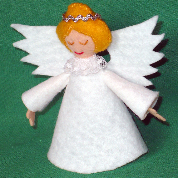 4 Inch Felt Angel Tree Topper for Small Christmas Trees by CreationsByJudy