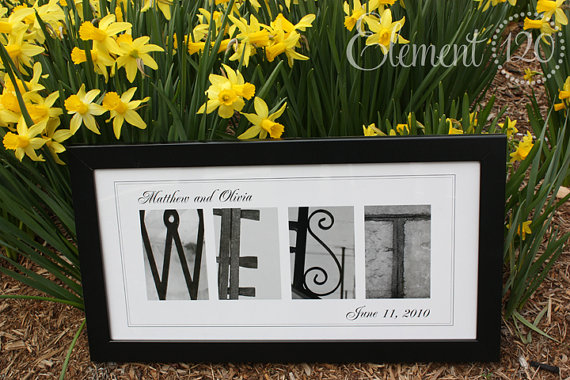 Alphabet Photography Name Frame PERSONALIZED Wedding Gift- 10×20 Modern – Great for Anniversaries by Element120photos