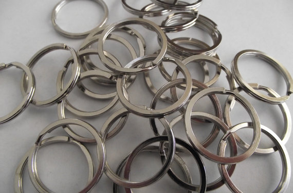 1 inch Key Chain Split Rings- 25- silver by loveittopieces
