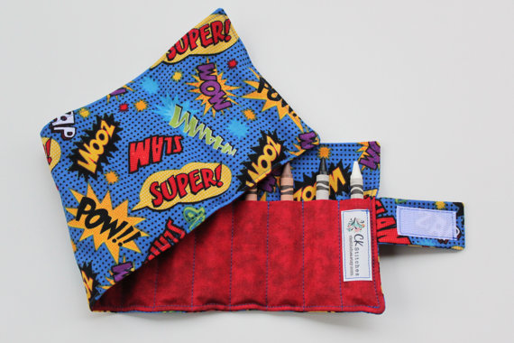Super Hero Crayon Roll Up for Boys – with Velcro OR Ribbon Closure (Your Choice) – Boy Birthday Present – Little Boy Gift Easter Basket by ckstitches