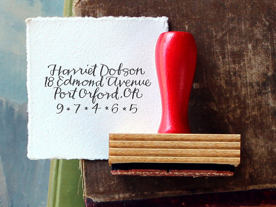 Calligraphy Return Address Stamp // Custom // BRIGHT by Primele