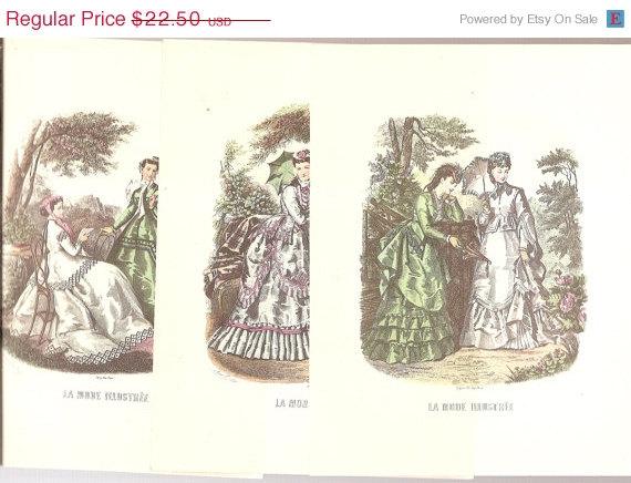 ART Prints 8 prints Ladies parasols Paris gowns Vintage PARIS FASHIONS La Modes 8 & quot; x 6 & quot; by vintagebooklover