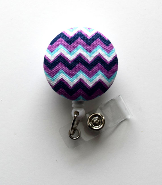 Purple and Blue Chevron Stripe – Retractable ID Badge Holder – Cute ID Badge Reel – Name Tag Holder – Nursing Badge Clip by BadgeShack